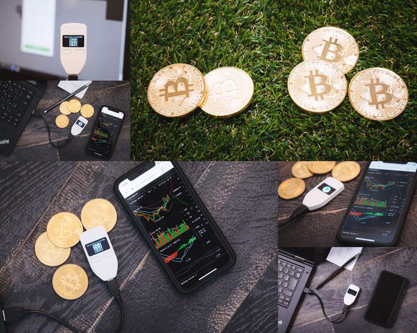 商务手机与比特币摄影高清图片