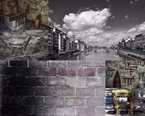 小镇建筑黑白照片摄影高清图片