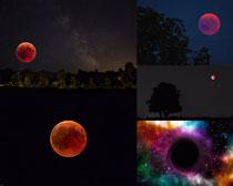 夜色天空月亮景觀攝影高清圖片