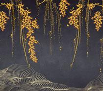 溪边枝头树背景墙PSD素材