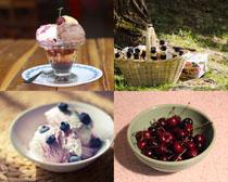樱桃与冰淇淋食物摄影高清图片