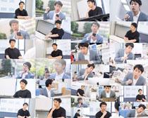 辦公的韓國男人攝影高清圖片