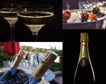 冰块与香槟拍摄高清图片