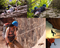 攀登的国外人物拍摄高清图片