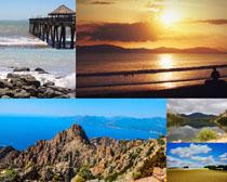 天空山峰大海風景拍攝高清圖片