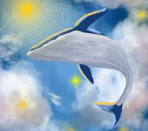 蓝色绘画鲸插画PSD素材