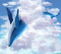 ?#33258;?#34013;色鲸鱼插画PSD素材