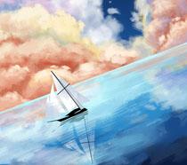 航海船绘画插画PSD素材