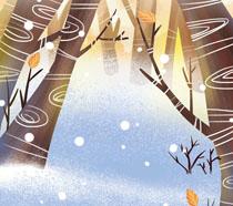 卡通绘画树林PSD素材