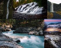 小溪瀑布风景拍摄高清图片