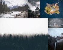 小溪云雾山峰树木摄影高清图片