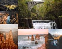 瀑布小溪山峰摄影高清图片