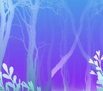 树木蓝色背景PSD素材
