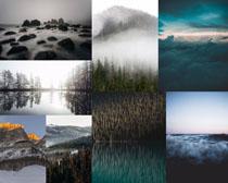 云雾山峰树林摄影高清图片