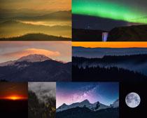 夕阳山峰景色拍摄高清图片