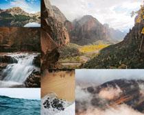山峰瀑布景色摄影高清图片