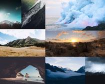 天空云朵山峰拍摄高清图片