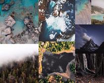 树木山峰石头大海摄影高清图片