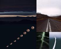 道路风景月亮摄影高清图片