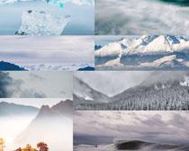 美麗雪山大海風景拍攝高清圖片