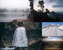 瀑布雪山湖水風景拍攝高清圖片