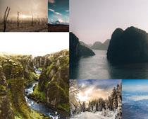 山峰湖水景色寫真拍攝高清圖片