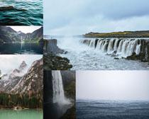 山峰瀑布風景拍攝高清圖片