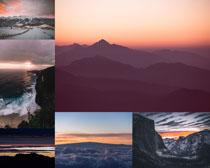 山峰大海景色拍攝高清圖片