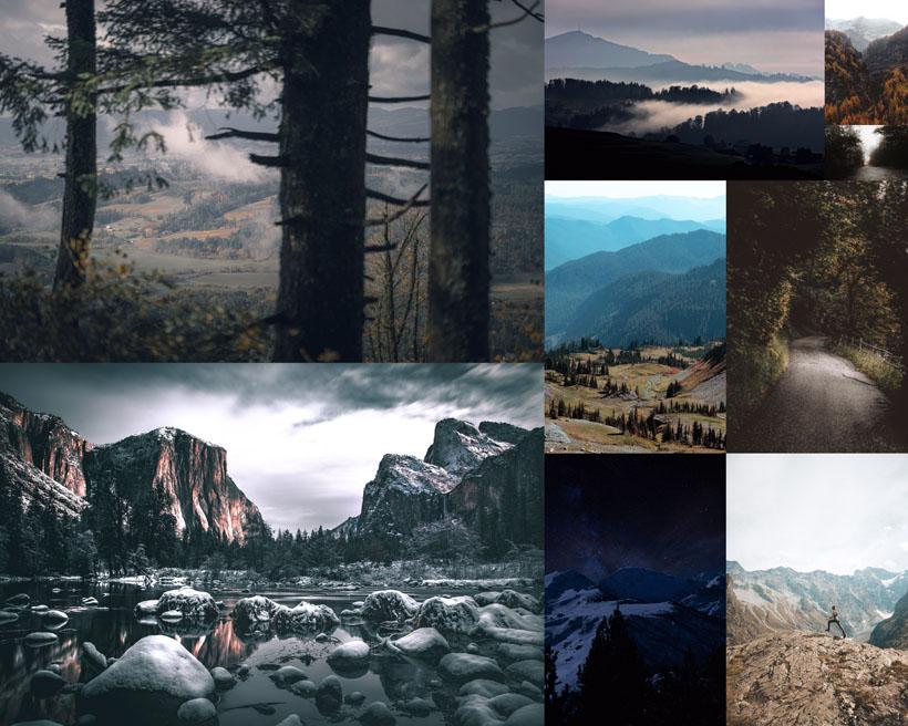 樹木山峰石頭風景拍攝高清圖片
