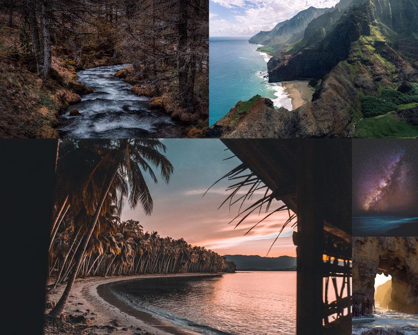 樹木大海小島風景拍攝高清圖片