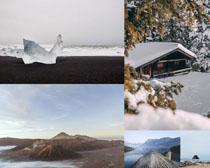 美麗雪景山峰攝影高清圖片