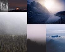 小溪山峰树林风景拍摄高清图片