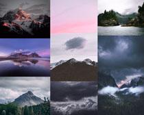 云霧山峰景觀拍攝高清圖片