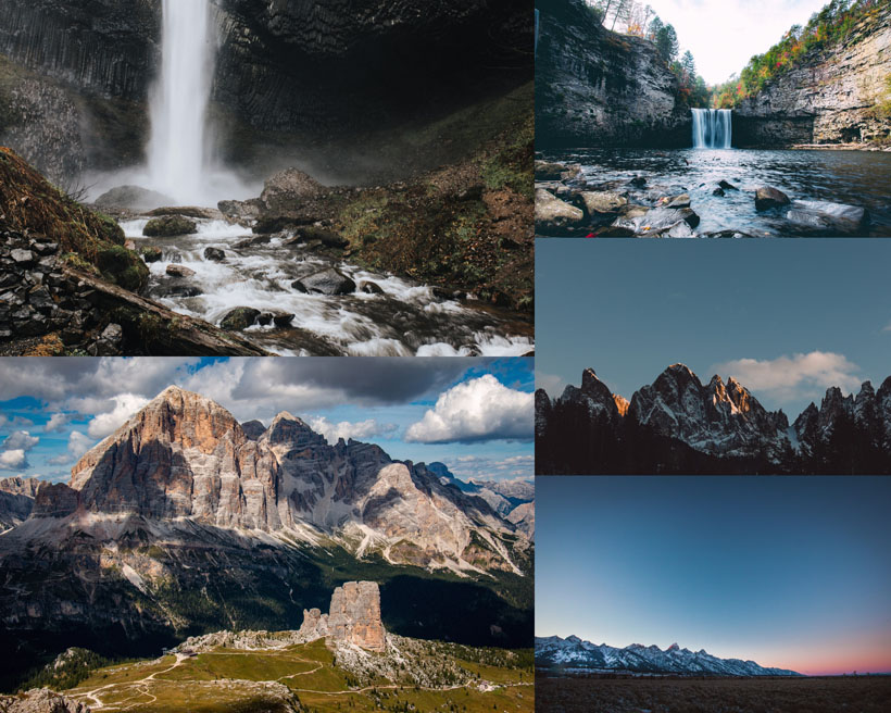 瀑布山峰美景拍攝高清圖片