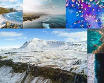 海边雪山风景拍摄高清图片