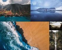 大海瀑布湖水风景摄影高清图片