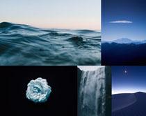 海水山峰瀑布摄影高清图片