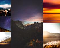 夕阳夜色风景拍摄高清图片