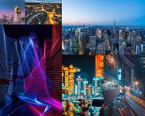 燈光城市建筑攝影高清圖片