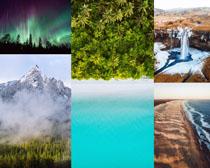 瀑布雪山大海風景攝影高清圖片