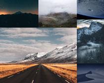 雪山道路风光摄影高清图片