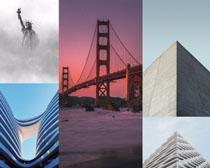 橋梁大廈塑像攝影建筑攝影高清圖片