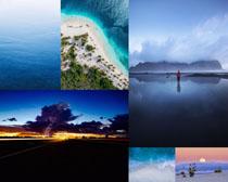 大海夕陽沙灘風光攝影高清圖片