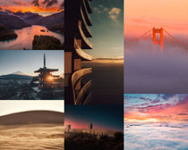 漂亮的夕陽風光景色攝影高清圖片