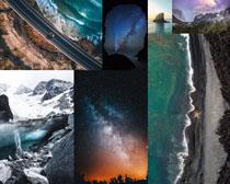 星空冰川道路大海攝影高清圖片