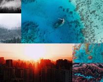 唯美海灘城市風光攝影高清圖片
