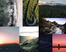 山峰道路风景线摄影高清图片