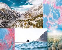雪景城市背景拍摄高清图片