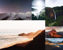 美麗山峰景色拍攝高清圖片
