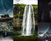 瀑布星空風景拍攝高清圖片